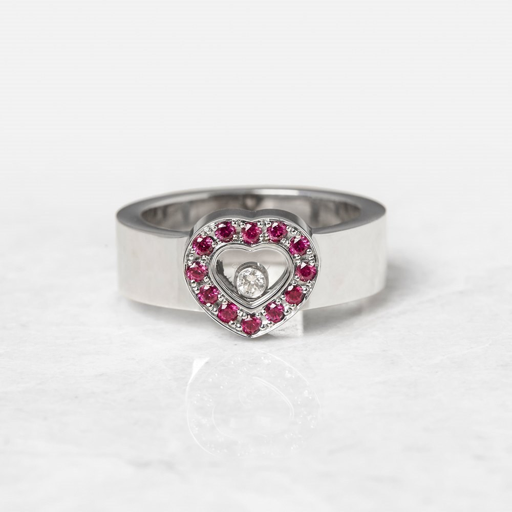 Chopard 18k White Gold Happy Diamonds Ruby Ring
