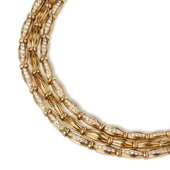 Tiffany & Co. 18k Yellow Gold Diamond Vintage Three Strand Necklace