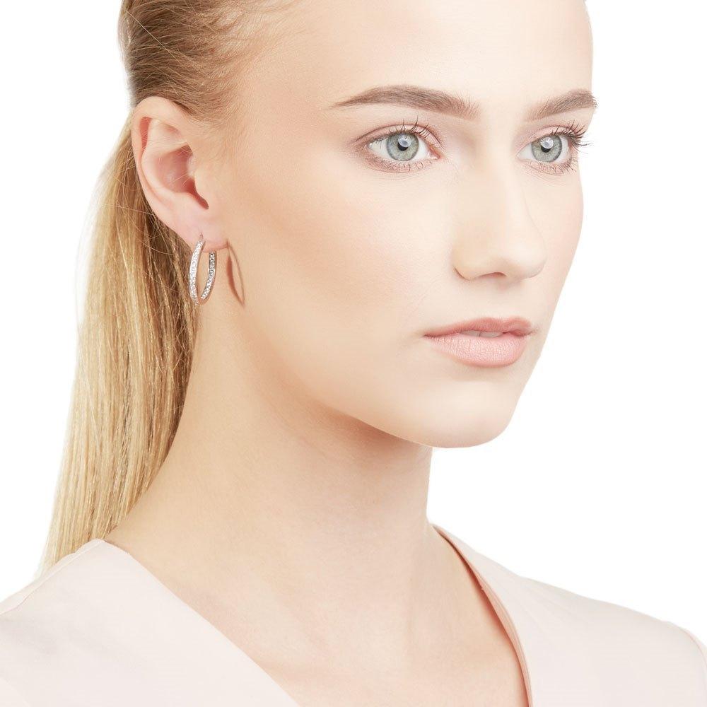 Cartier 18k White Gold 1.20ct Diamond Inside Out Hoop Earrings