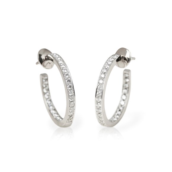 Cartier 18k White Gold Diamond Inside Out Hoop Earrings