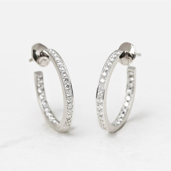 Cartier 18k White Gold 1.20ct Diamond Inside Out Hoop Earrings