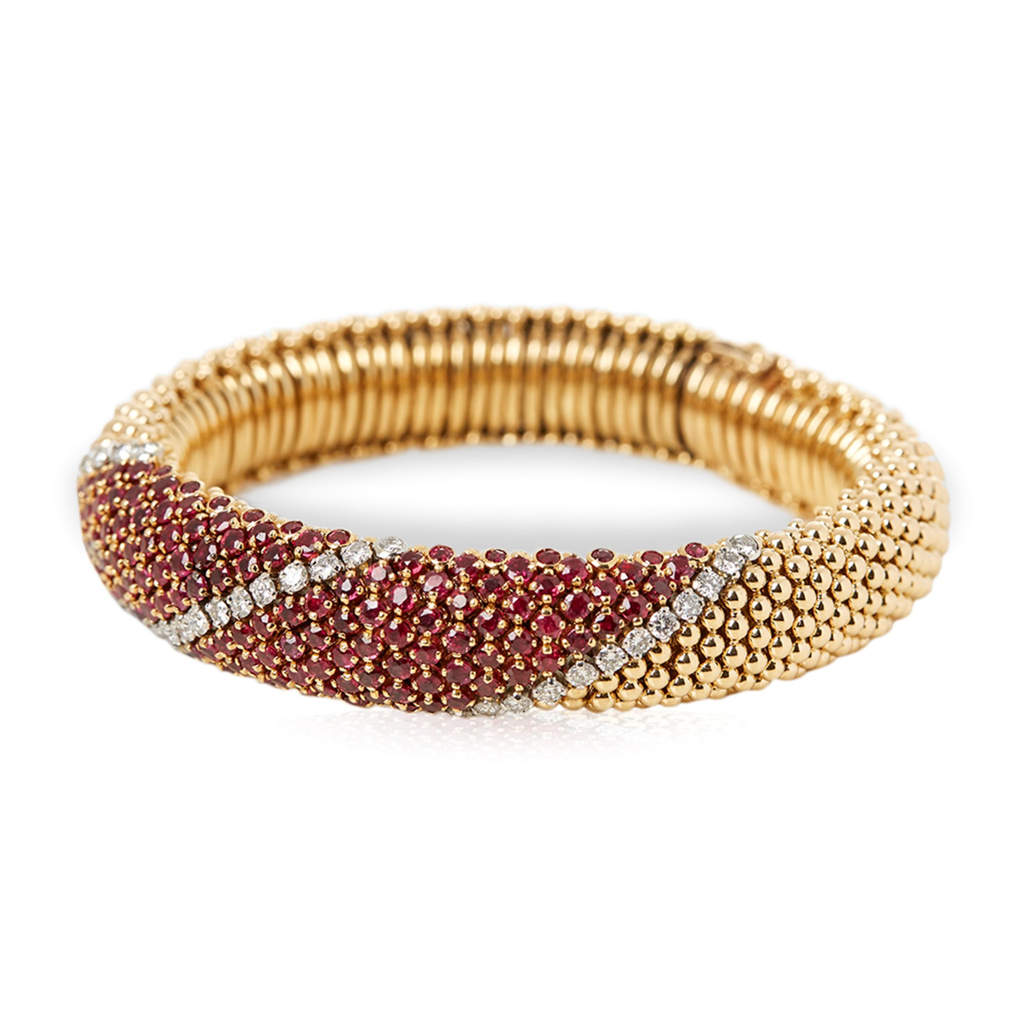 design de qualité b9a9e 2117b 18k Yellow Gold Ruby & Diamond Vintage Statement Bracelet