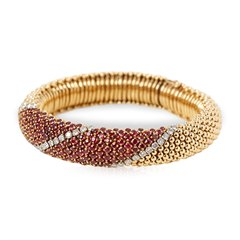 Van Cleef & Arpels 18k Yellow Gold Ruby & Diamond Vintage Statement Bracelet
