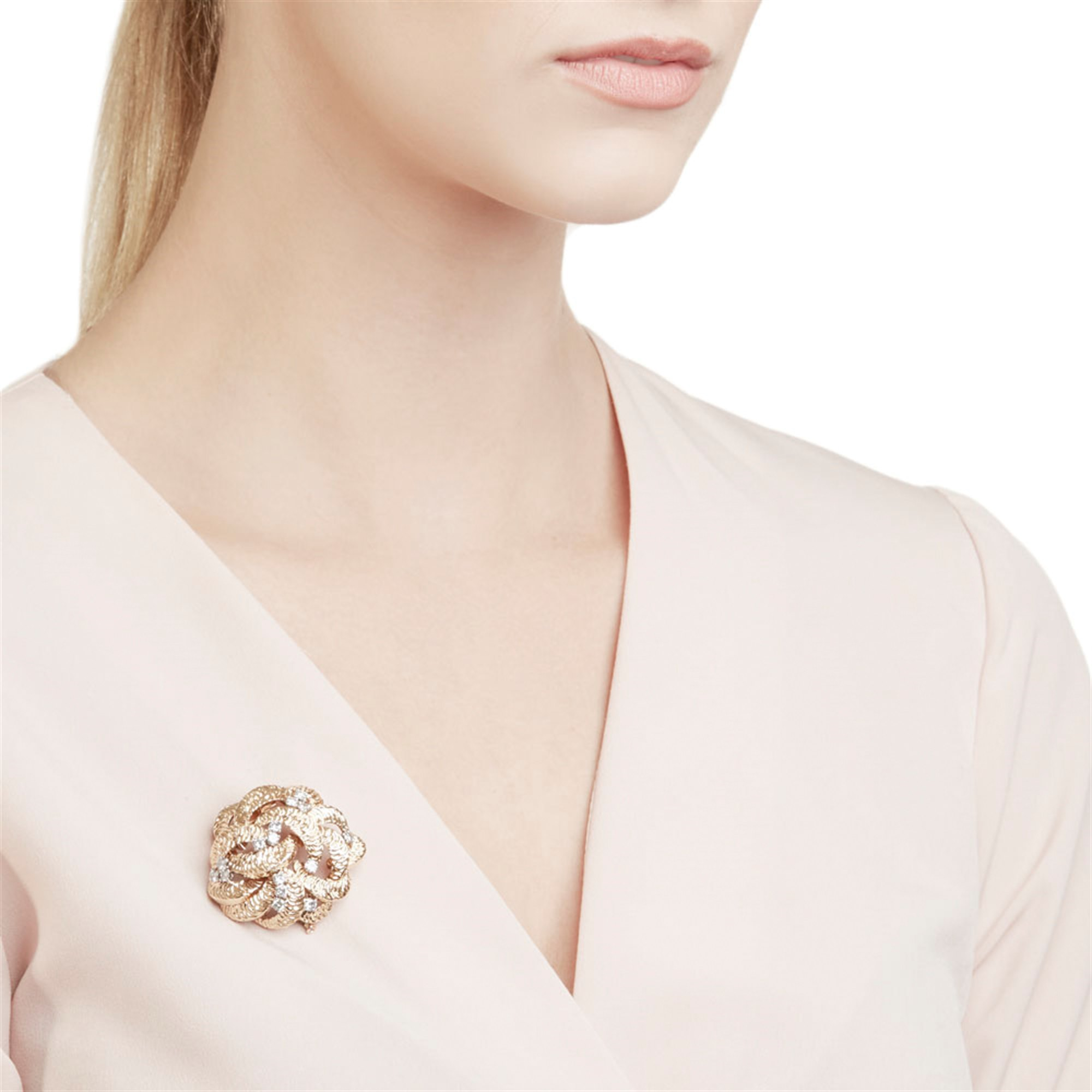 Boucheron 18k Yellow Gold Diamond Vintage Flower Design Brooch