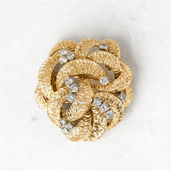 Boucheron 18k Yellow Gold Diamond Flower Brooch