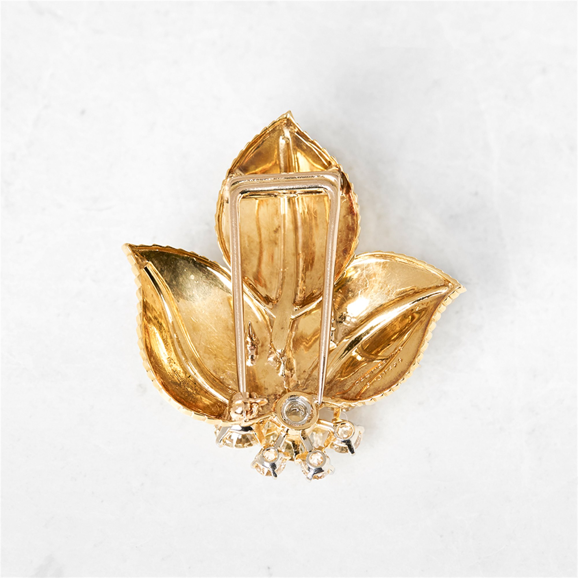 Cartier 18k Yellow Gold Diamond Vintage Leaf Design Brooch