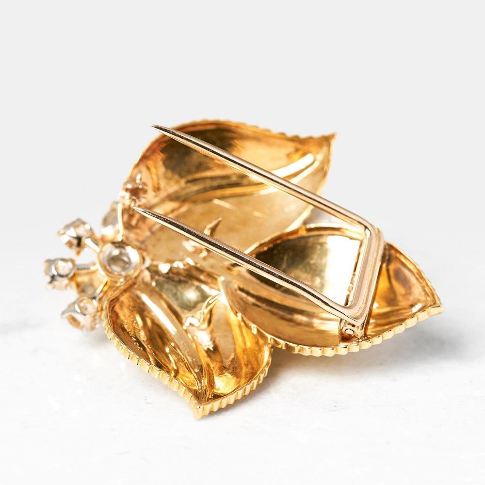Cartier 18k Yellow Gold Three Leaf Diamond Vintage Brooch