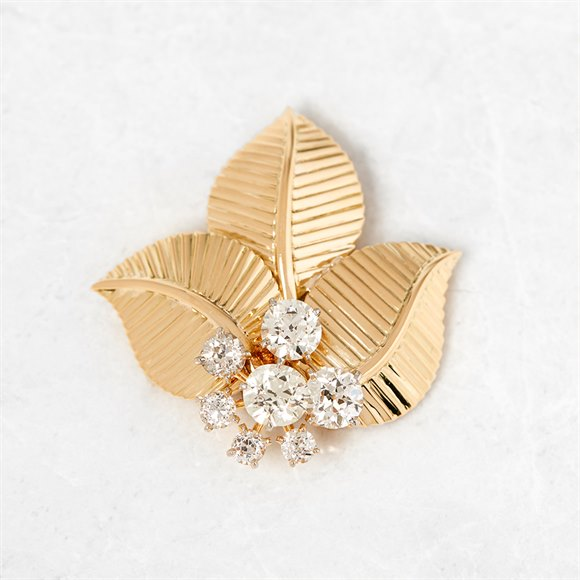Cartier 18k Yellow Gold Three Leaf Diamond Vintage Brooch