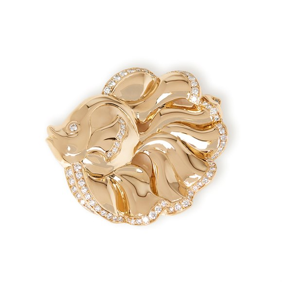 Van Cleef & Arpels 18k Yellow Gold Diamond Vintage Fish Design Brooch
