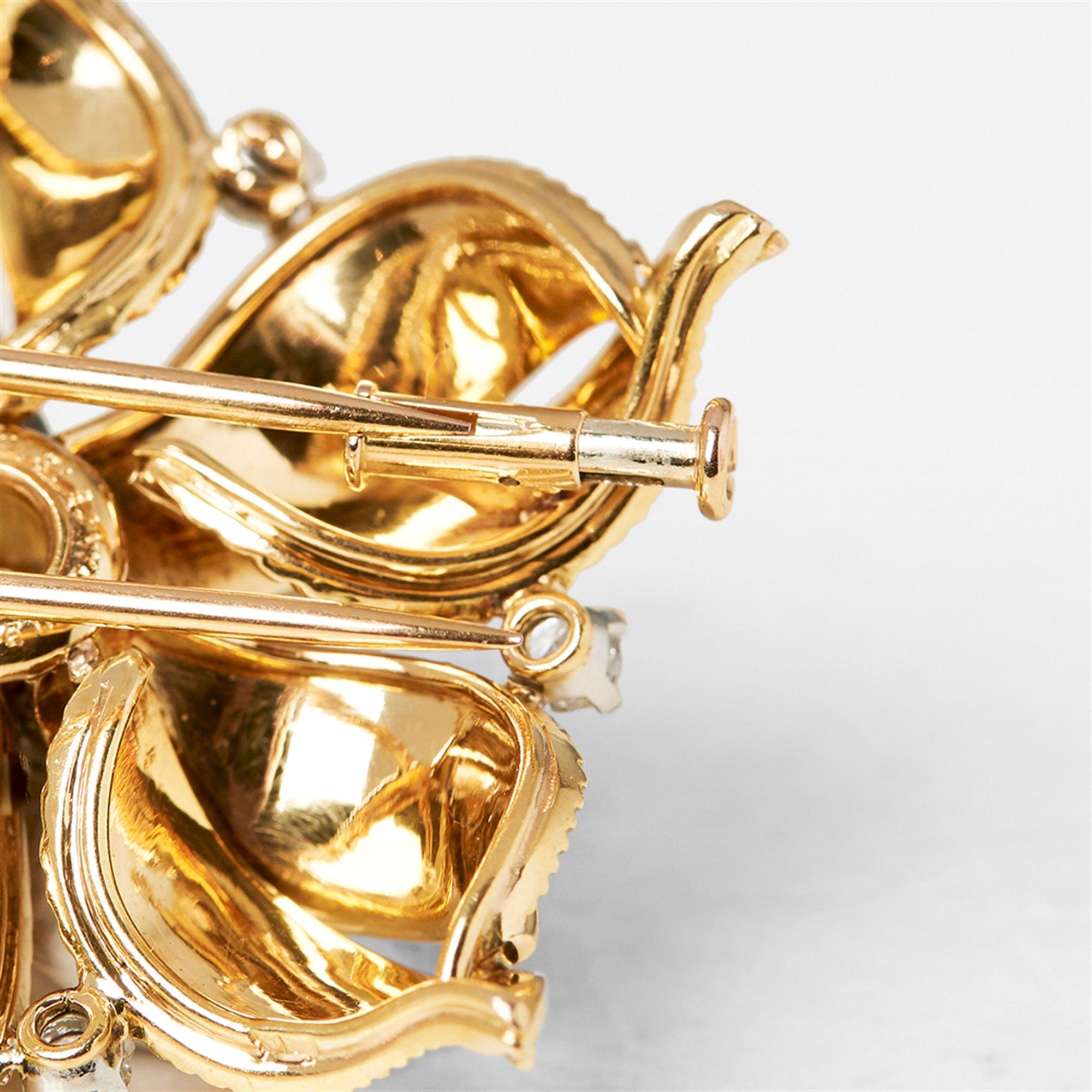 Cartier 18k Yellow Gold Diamond Vintage Flower Design Brooch