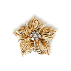Cartier 18k Yellow Gold Diamond Vintage Flower Design Brooch