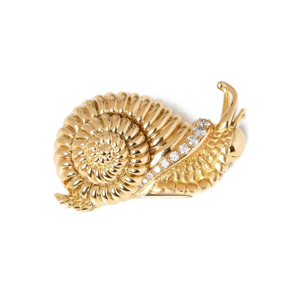 René Boivin 18k Yellow Gold Diamond Vintage Snail Brooch