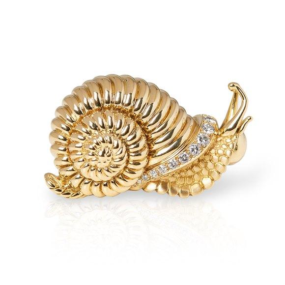 Rene Boivin 18k Yellow Gold Diamond Snail Brooch