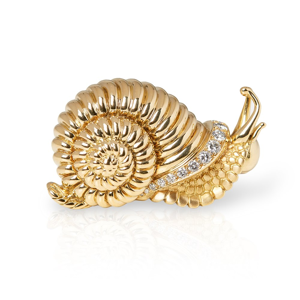 René Boivin 18k Yellow Gold Diamond Vintage Snail Brooch