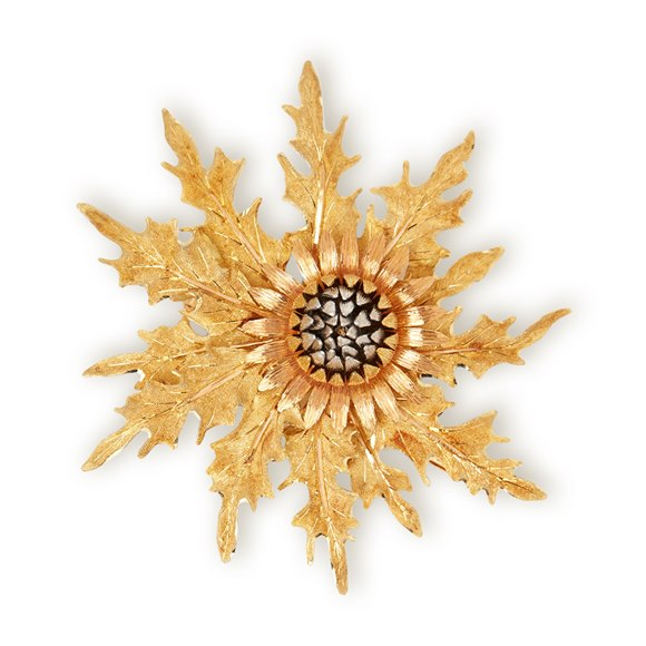 Buccellati 18k Yellow, White & Rose Gold Vintage Thistle Brooch