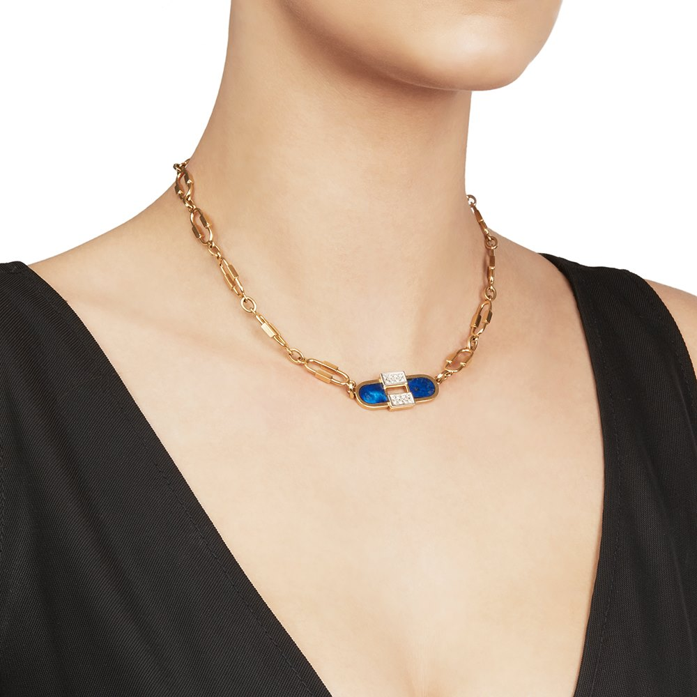 Cartier 18k Yellow Gold Lapis Lazuli & Diamond Vintage Necklace