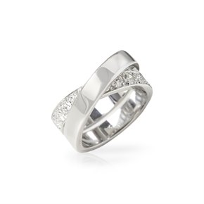 Cartier 18k White Gold Diamond Crossover Paris Nouvelle Vague Ring