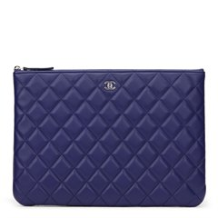 Chanel Blue Quilted Lambskin Medium O Case