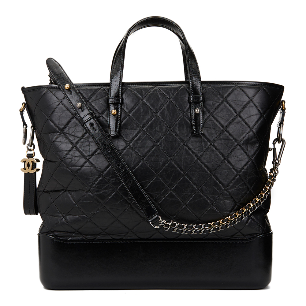 59472ed54ede Chanel Black Aged   Smooth Calfskin Leather Gabrielle Large Shopping Tote