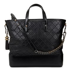 Chanel Black Aged & Smooth Calfskin Leather Gabrielle Large Shopping Tote