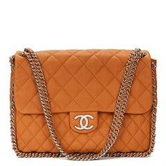 Chanel Honey Beige Quilted Calfskin Chain Around Maxi Flap Bag