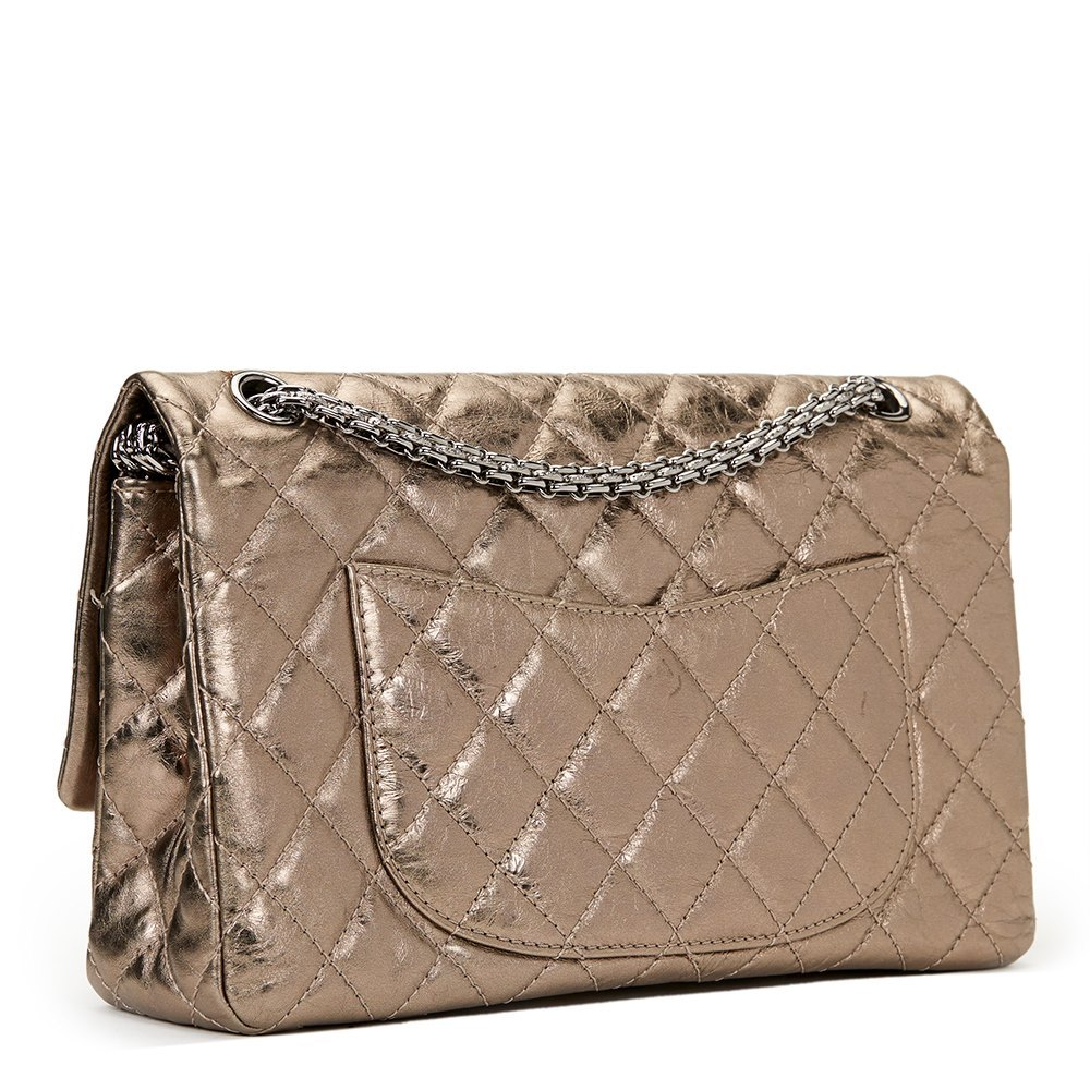 f2bf6cce88ea6a Chanel Bronze Quilted Metallic Calfskin Leather 2.55 Reissue 226 Double Flap  Bag