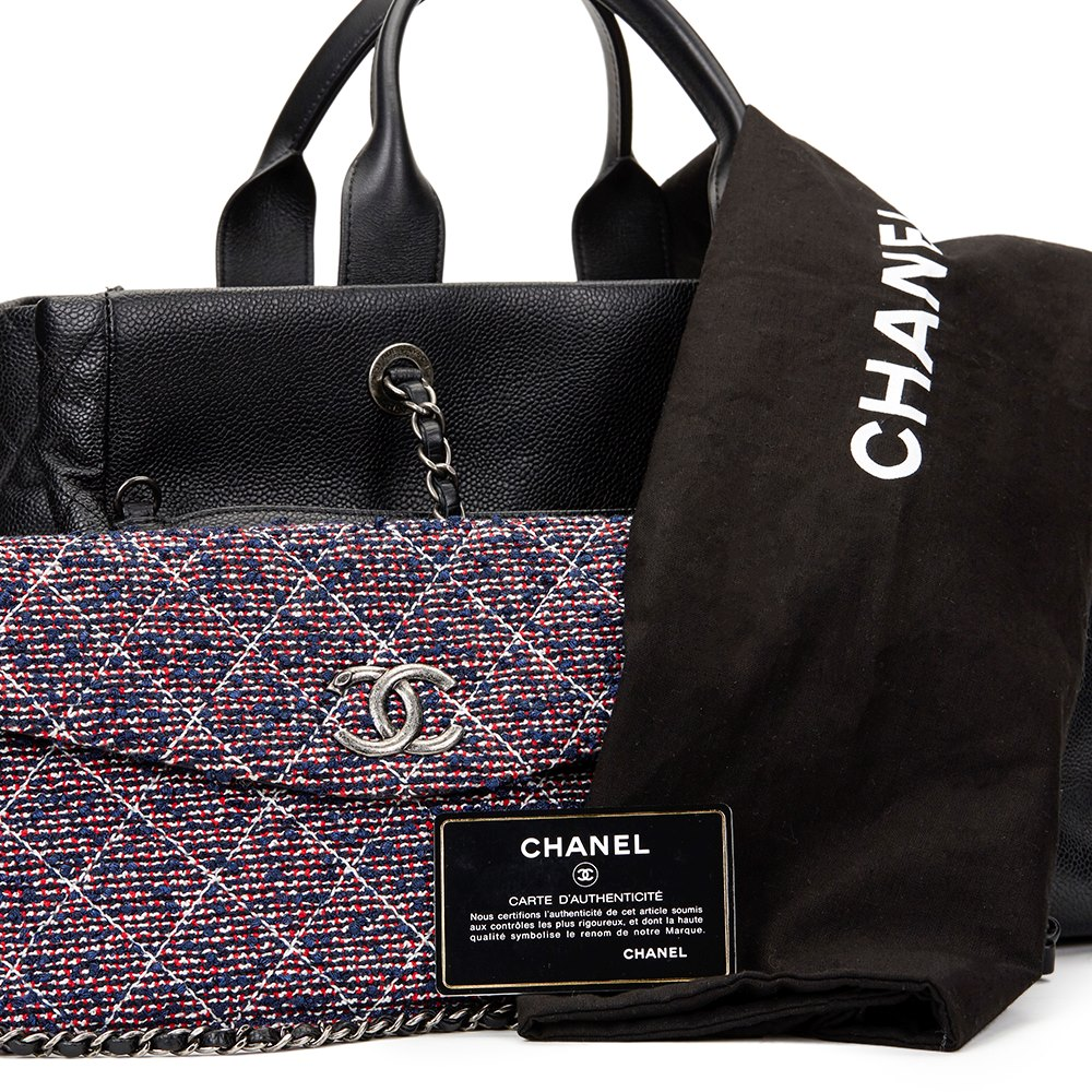 Chanel Black Caviar Leather Large Shoulder Shopping Tote with Pouch