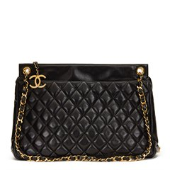 Chanel Black Quilted Lambskin Vintage Jumbo Timeless Charm Shoulder Bag