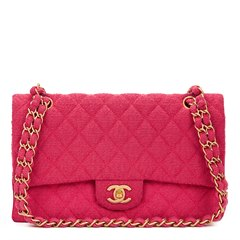 Chanel Fuchsia Quilted Bouclé Fabric Medium Classic Double Flap Bag