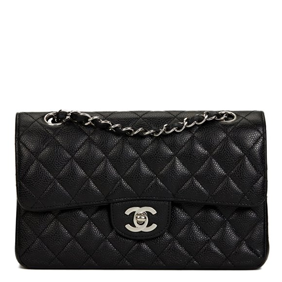 Chanel Black Quilted Caviar Leather Small Classic Double Flap