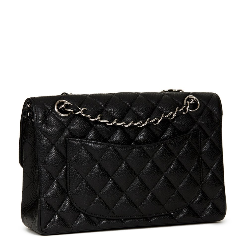 a0f5d6288827 Chanel Black Quilted Caviar Leather Small Classic Double Flap