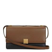 Céline Brown & Black Calfskin Leather Bi-Colour Medium Case Flap Bag