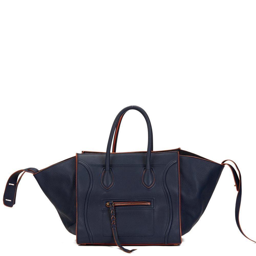 Céline Navy Supple Calfskin Leather Orange Trim Medium Phantom Luggage Tote dffca4ee53d93