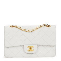 Chanel White Quilted Lambskin Vintage Small Classic Double Flap Bag