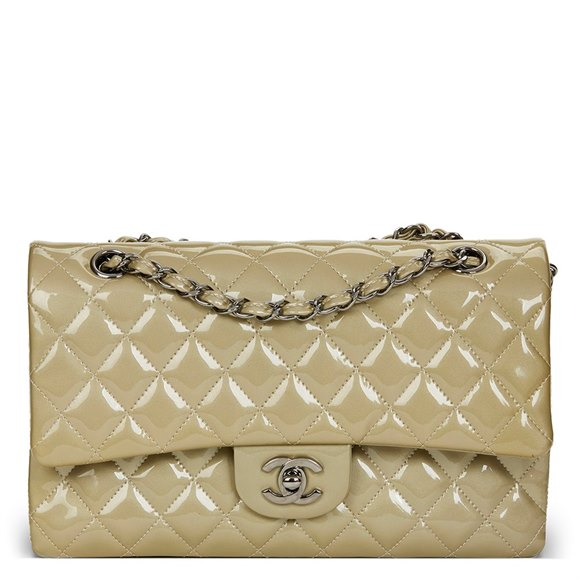 Chanel Pale Olive Quilted Iridescent Patent Leather Medium Classic Double Flap Bag