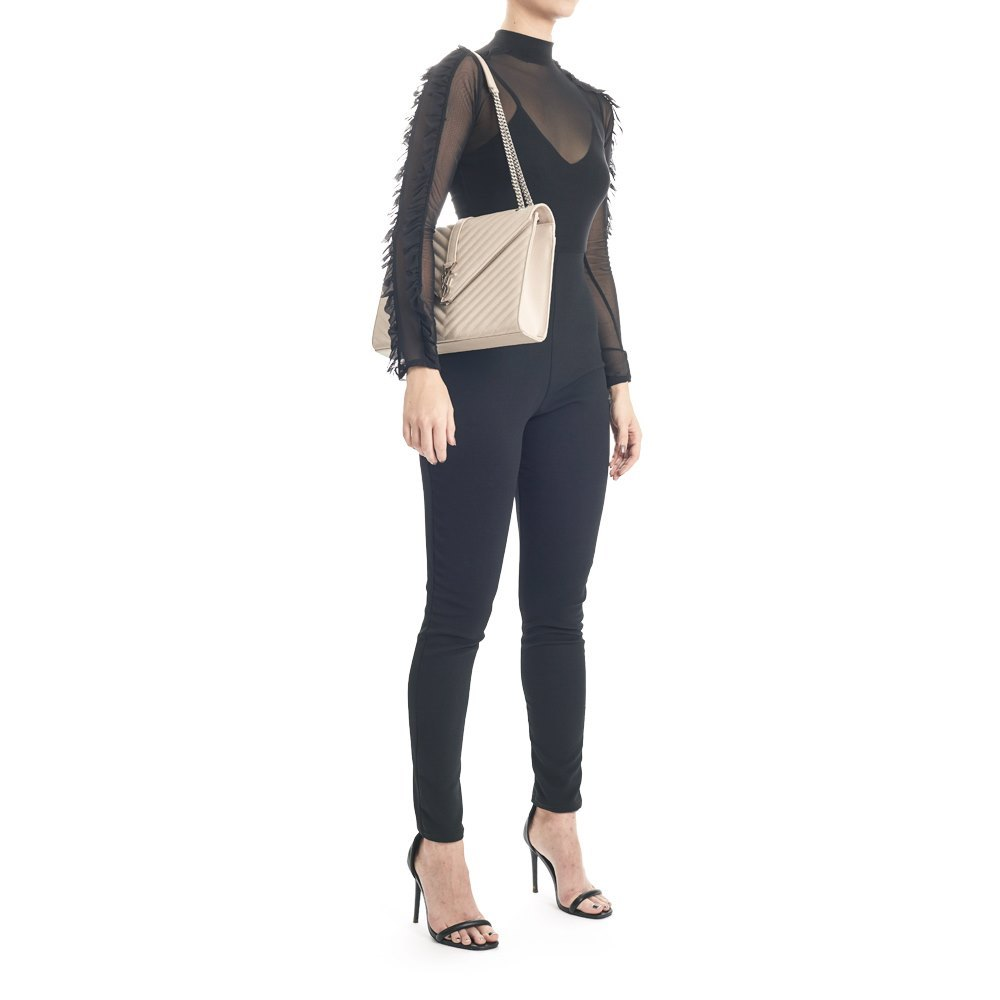 dd503599e17 Saint Laurent Icy White Chevron Quilted Grained Calfskin Large Envelope  Chain Bag