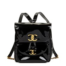 Chanel Black Patent Leather Vintage Classic Timeless Backpack