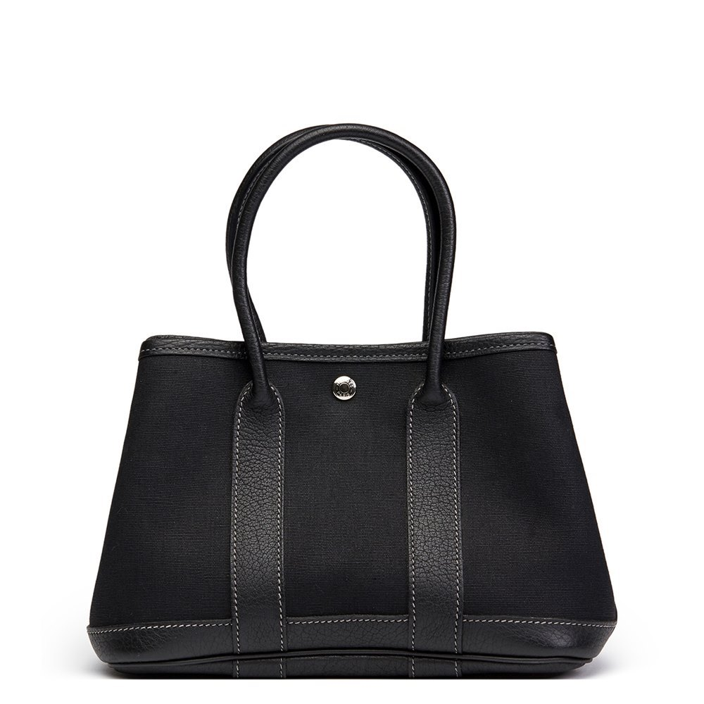 182fcb9984de Hermès Black Chevre Mysore Leather   Canvas Mini Garden Party