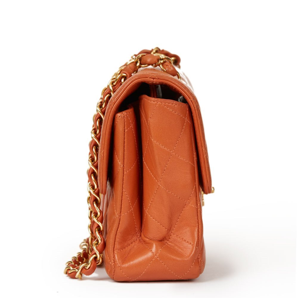 73d5c9bf2038 Chanel Burnt Orange Quilted Lambskin Small Double Sided Classic Flap Bag