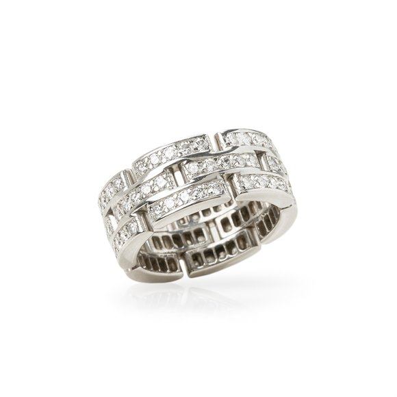 Cartier 18k White Gold Diamond Maillon Ring