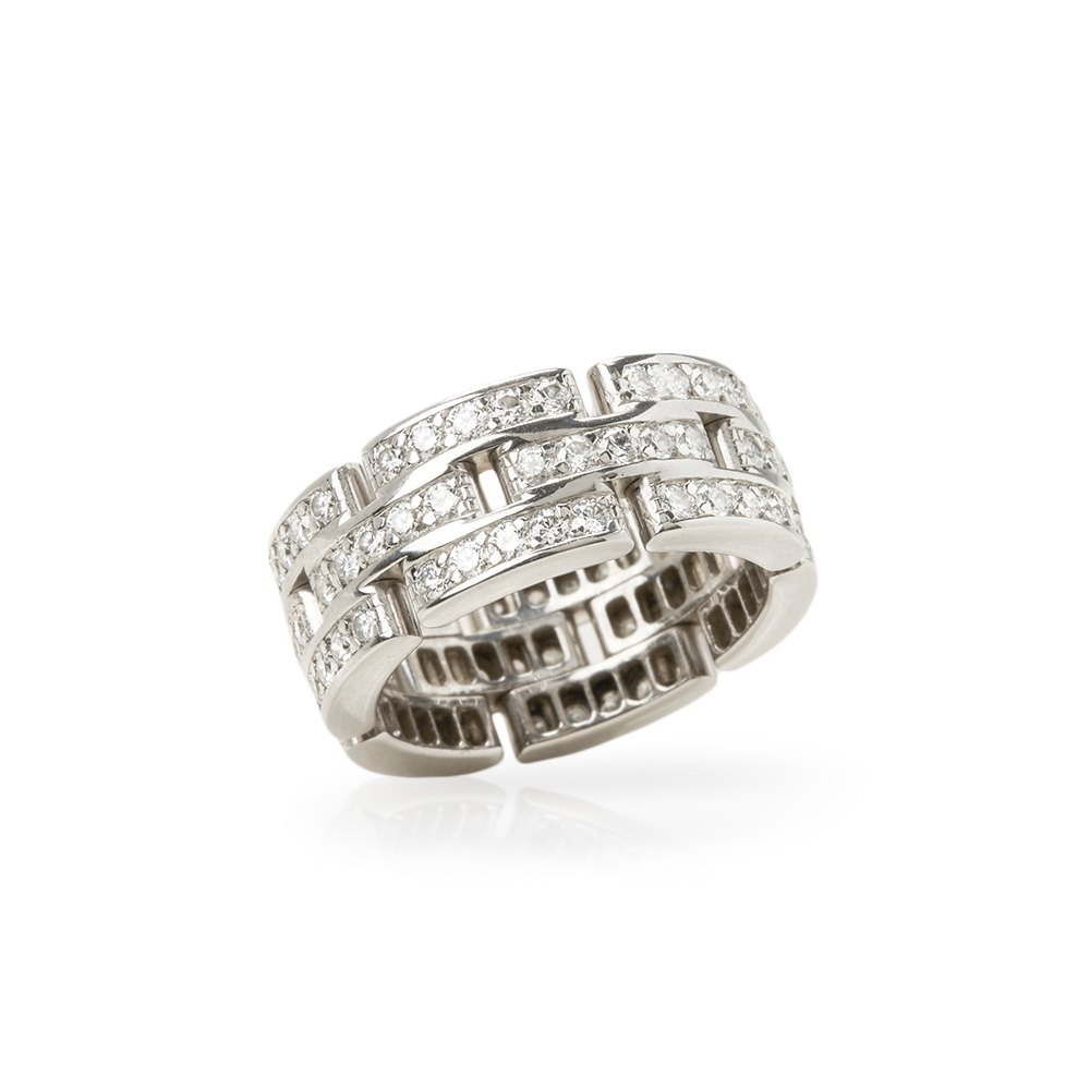 Cartier 18k White Gold Diamond Maillon Band Ring