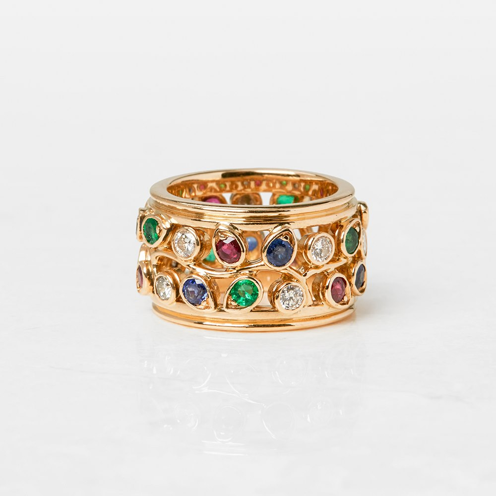 Cartier 18k Yellow Gold Multi-Gemstone Band Ring