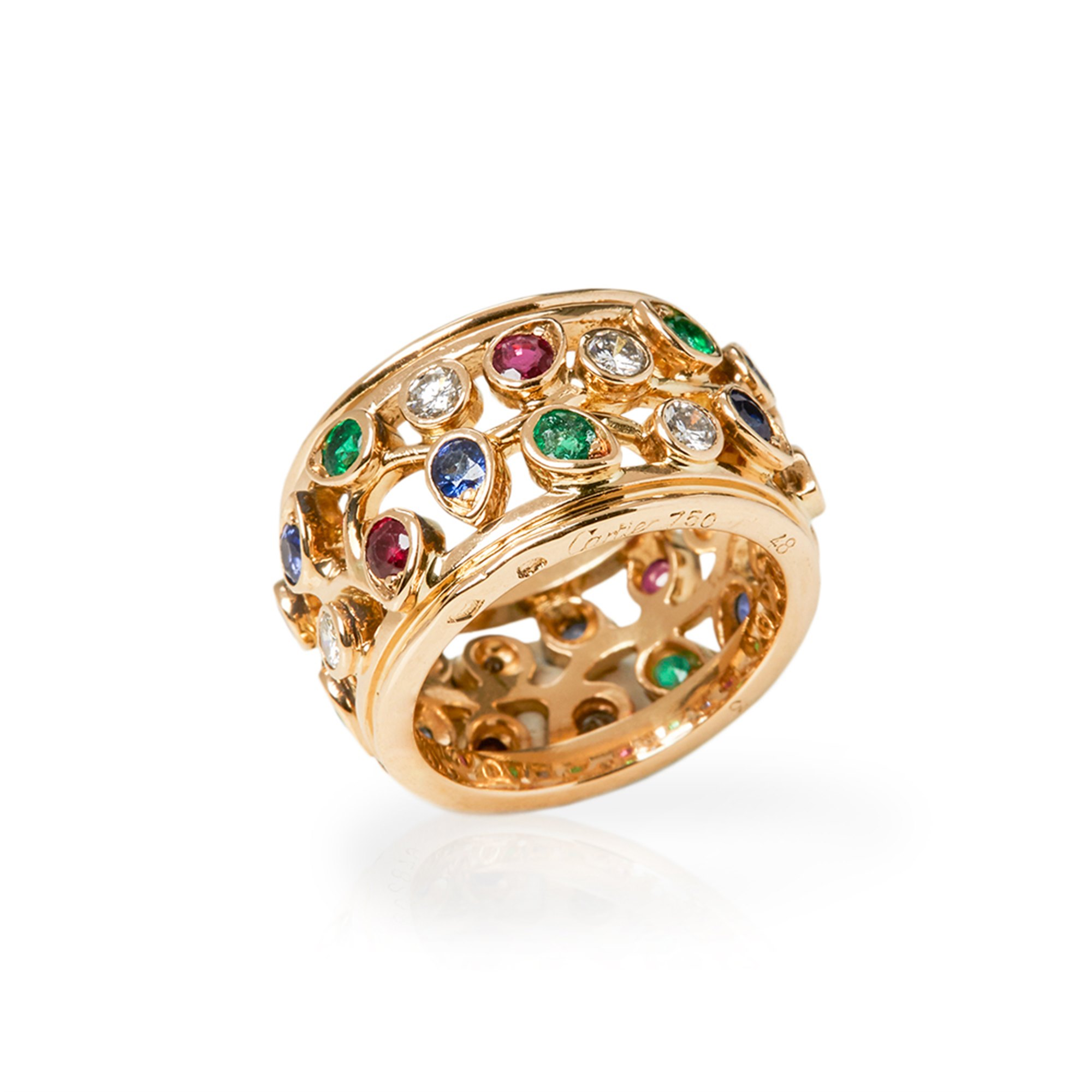 Cartier 18k Yellow Gold Multi-Gemstone Band Ring