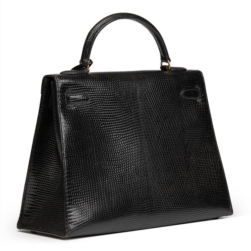 75ba30be9626 Hermès Black Lizard Skin Vintage Kelly 32cm Sellier