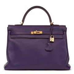 Hermès Violet Togo Leather Kelly 35cm Retourne