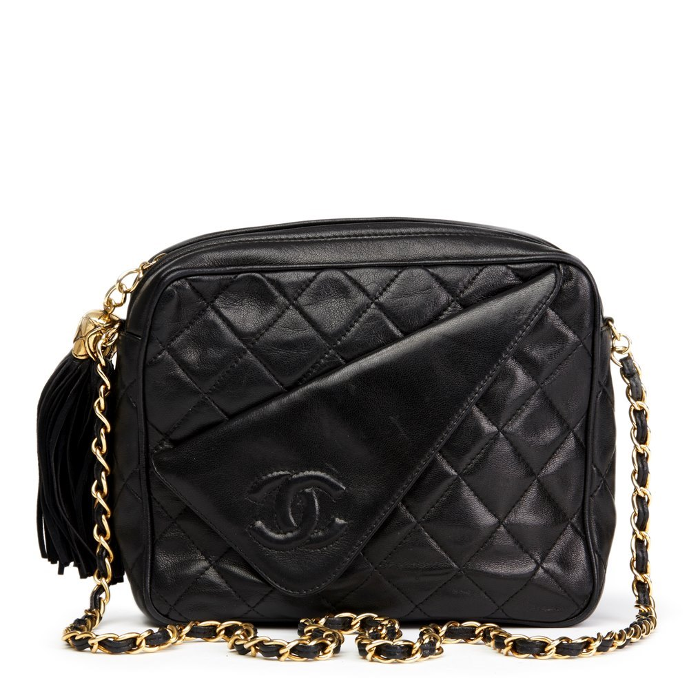 9596540550f8 Chanel Black Quilted Lambskin Vintage Timeless Fringe Camera Bag