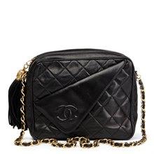 Chanel Black Quilted Lambskin Vintage Timeless Fringe Camera Bag