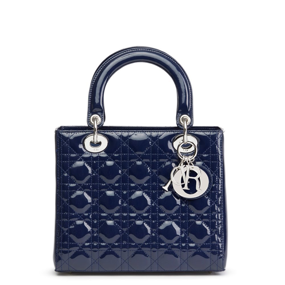 Christian Dior Sapphire Blue Quilted Patent Leather Medium Lady Dior 1a11db3100343