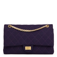 Chanel Violet Quilted Jersey Fabric 2.55 Reissue 226 Double Flap Bag
