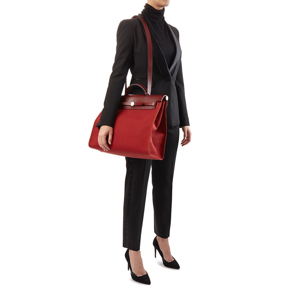 7a8f6849780a ... store hermès rouge h hunter cowhide leather rouge venitienne canvas herbag  zip 39 b0426 68e23